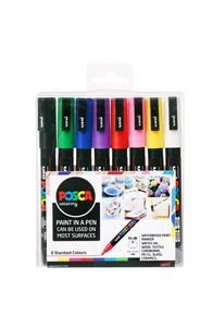 Uni Posca Paint Fine, 0.9 -1.3mm Bullet Tip, 8 Colour Set DAMPF8