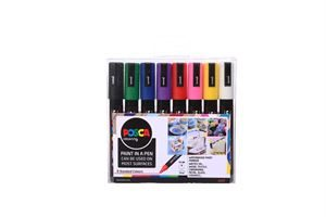Uni Posca Paint Medium, 1.8 -2.5mm Bullet Tip, 8 Colour Set DAMPBU8